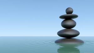 Zen stones in lake